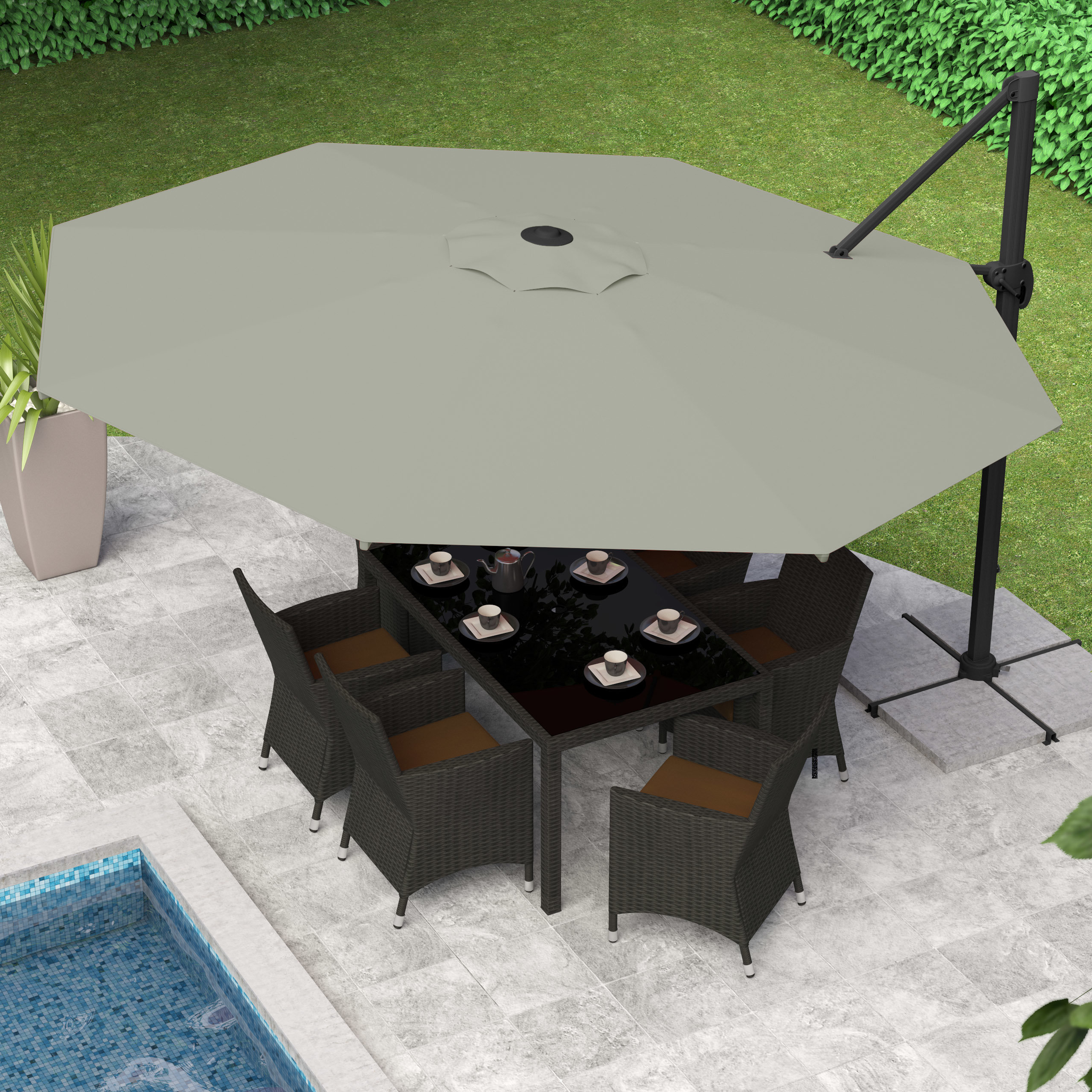 Newest Brecht Lighted Umbrellas For Cantilever Umbrella Led Lights (View 15 of 20)