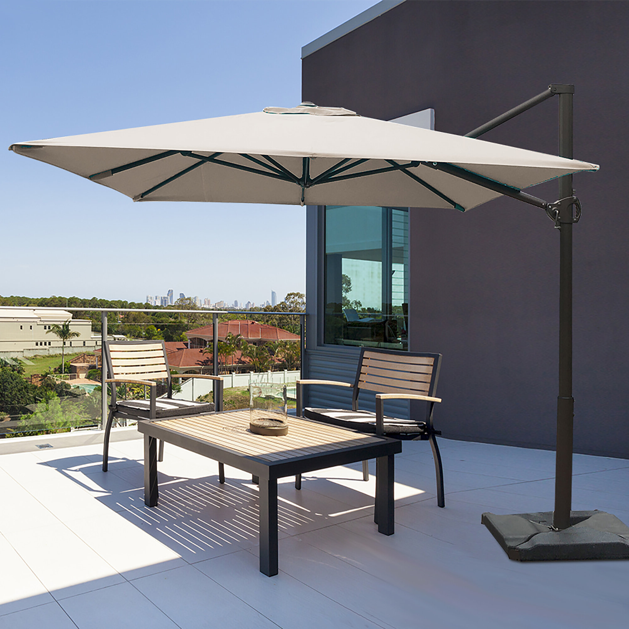 Newest Cantilever Umbrellas Within Fordwich 8' X 10' Rectangular Cantilever Umbrella (View 3 of 20)