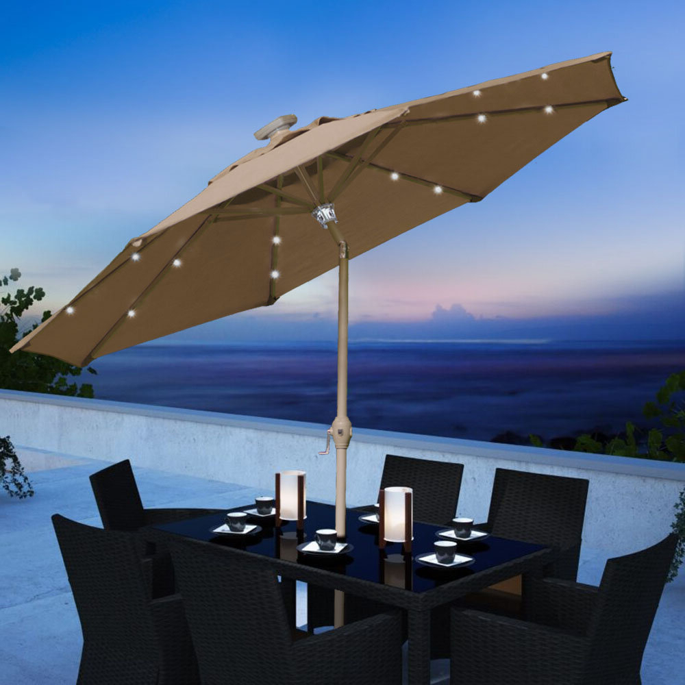 Newest Coggeshall Led Lighted Market Umbrellas Within Chalone 9' Lighted Market Umbrella (View 15 of 20)