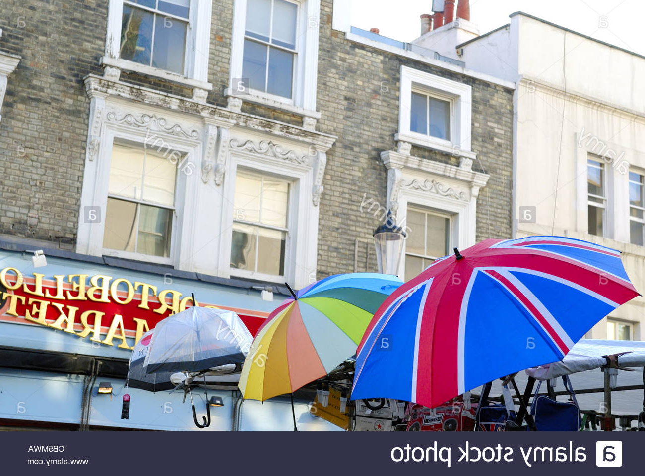 Newest Coloured Umbrella At Portobello Market, London Uk Stock Photo Intended For Lora Market Umbrellas (Gallery 1 of 20)