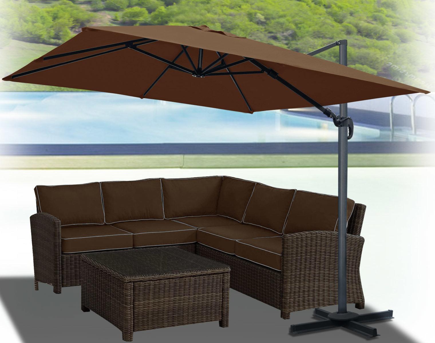 Newest Desmond Rectangular Cantilever Umbrellas Inside Klass Hanging Patio 10' Square Cantilever Umbrella (View 7 of 20)