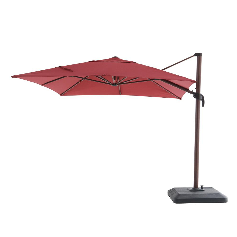 Newest Fazeley Rectangular Cantilever Umbrellas In Hampton Bay 10 Ft. X 12 Ft. Aluminum Rectangle Offset Cantilever Patio Umbrella In Cafe (Gallery 8 of 20)