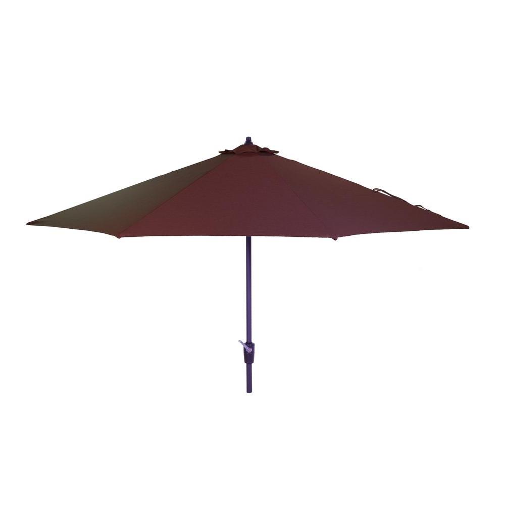 Newest Hampton Bay 10 Ft. Aluminum Market Patio Umbrella In Sunbrella Canvas Henna With Auto Tilt In Emely Cantilever Sunbrella Umbrellas (Gallery 14 of 20)
