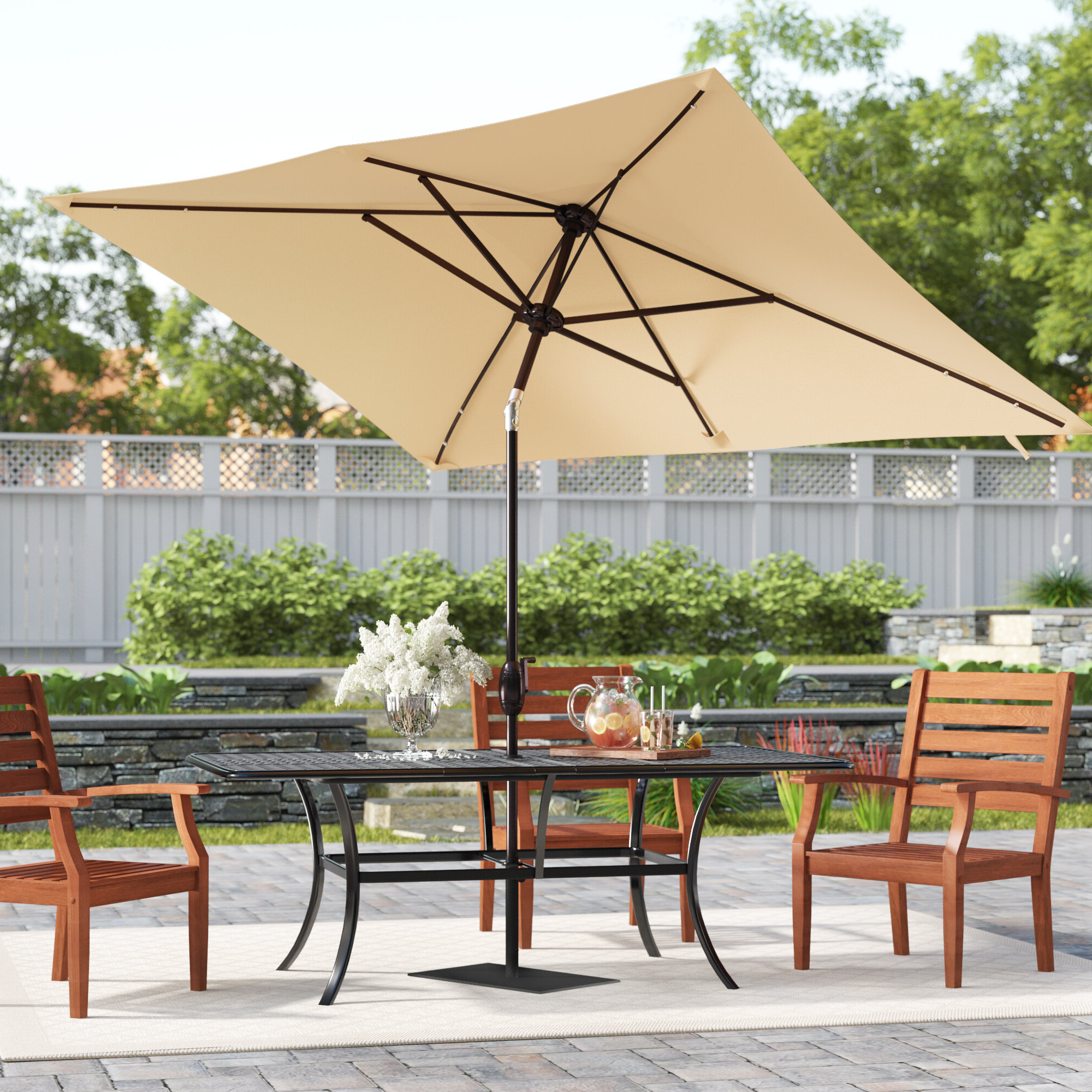 Newest Jerrell 10' X 7' Rectangular Market Umbrella Inside Solid Rectangular Market Umbrellas (Gallery 8 of 20)