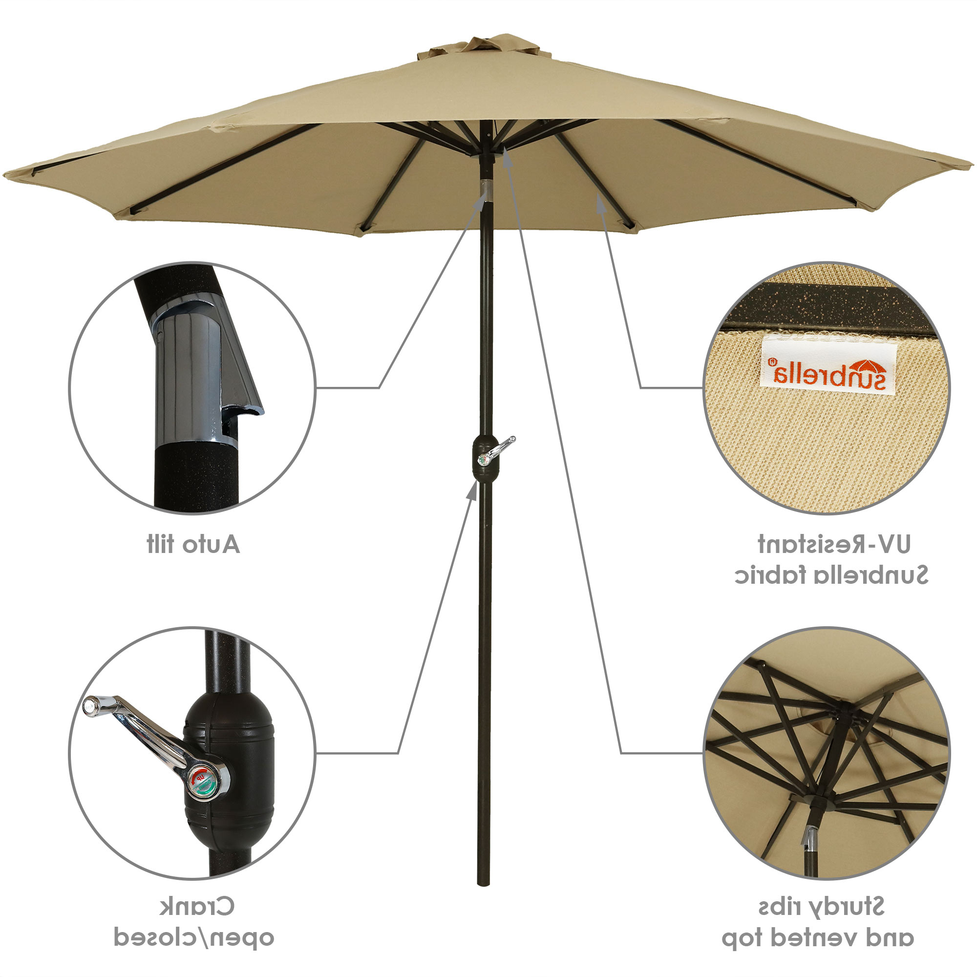 Newest Julian Market Sunbrella Umbrellas Regarding Sunnydaze Sunbrella Patio Umbrella With Auto Tilt And Crank, 9 Foot Outdoor Market Umbrella, Rust Resistant Aluminum, Sunbrella Beige (View 12 of 20)