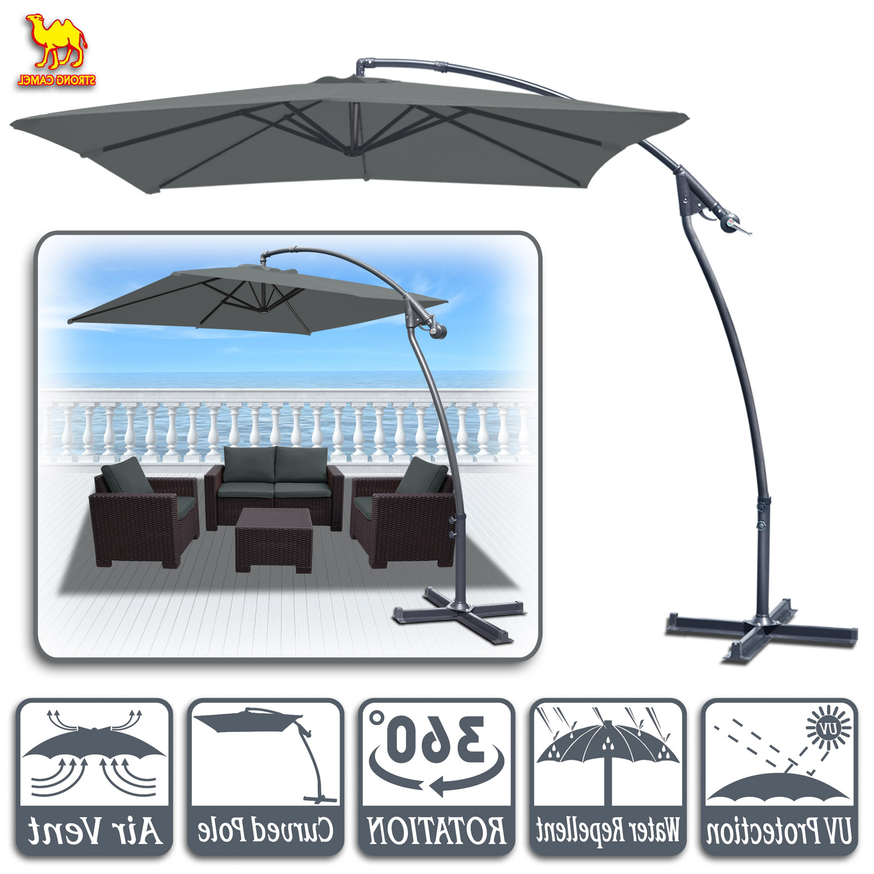 Newest Justis Cantilever Umbrellas Inside Strong Camel 8' X 8' Cantilever Hanging Umbrella Offset Patio Umbrella Garden Outdoor Sunshade Market 360 Degree Rotational Function In Grey Color (View 5 of 20)