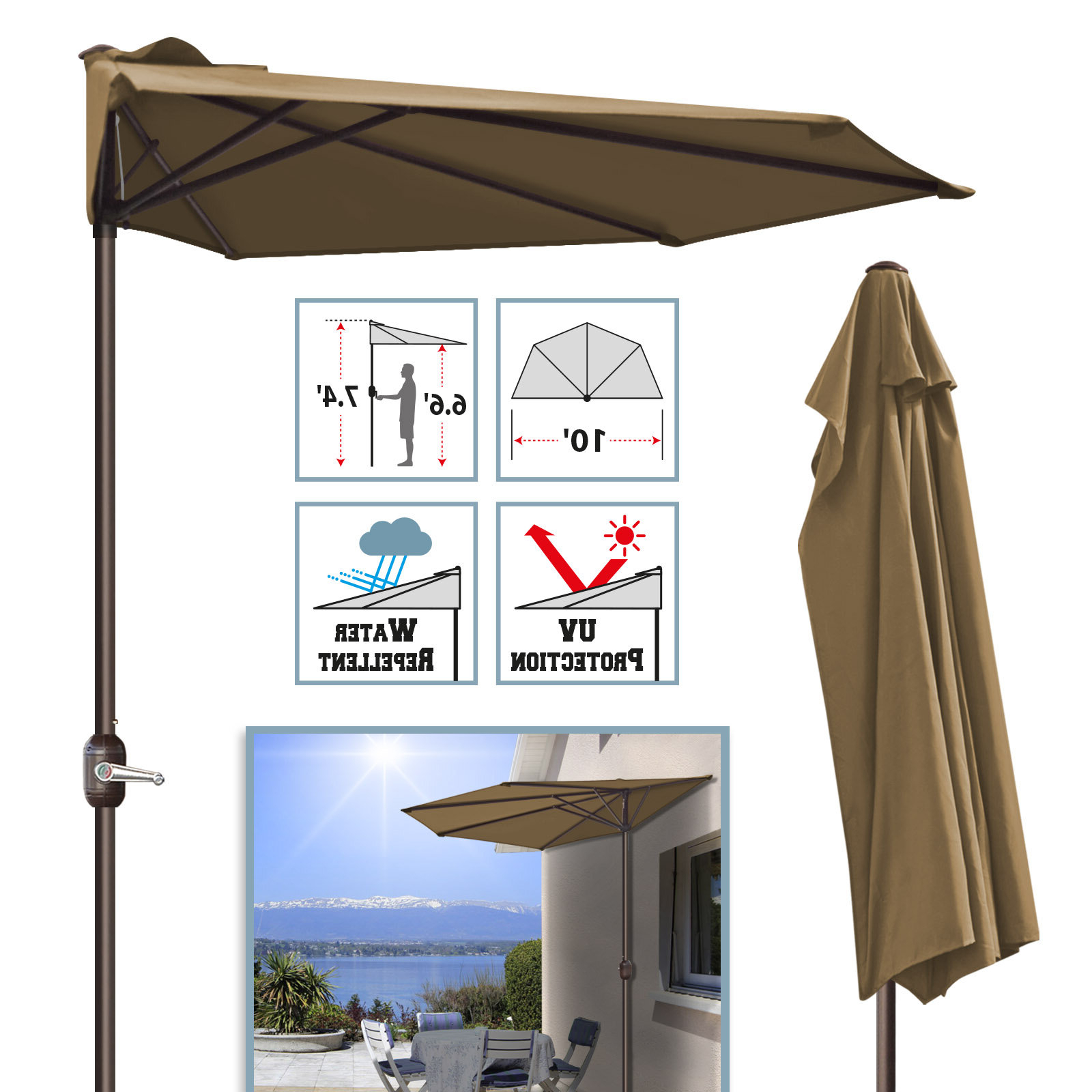 Newest Keltner Patio Outdoor Market Umbrellas With Regard To Rotherham Outdoor Patio Cafe Wall Balcony Door Sun Shade Half Market Umbrella (View 7 of 20)