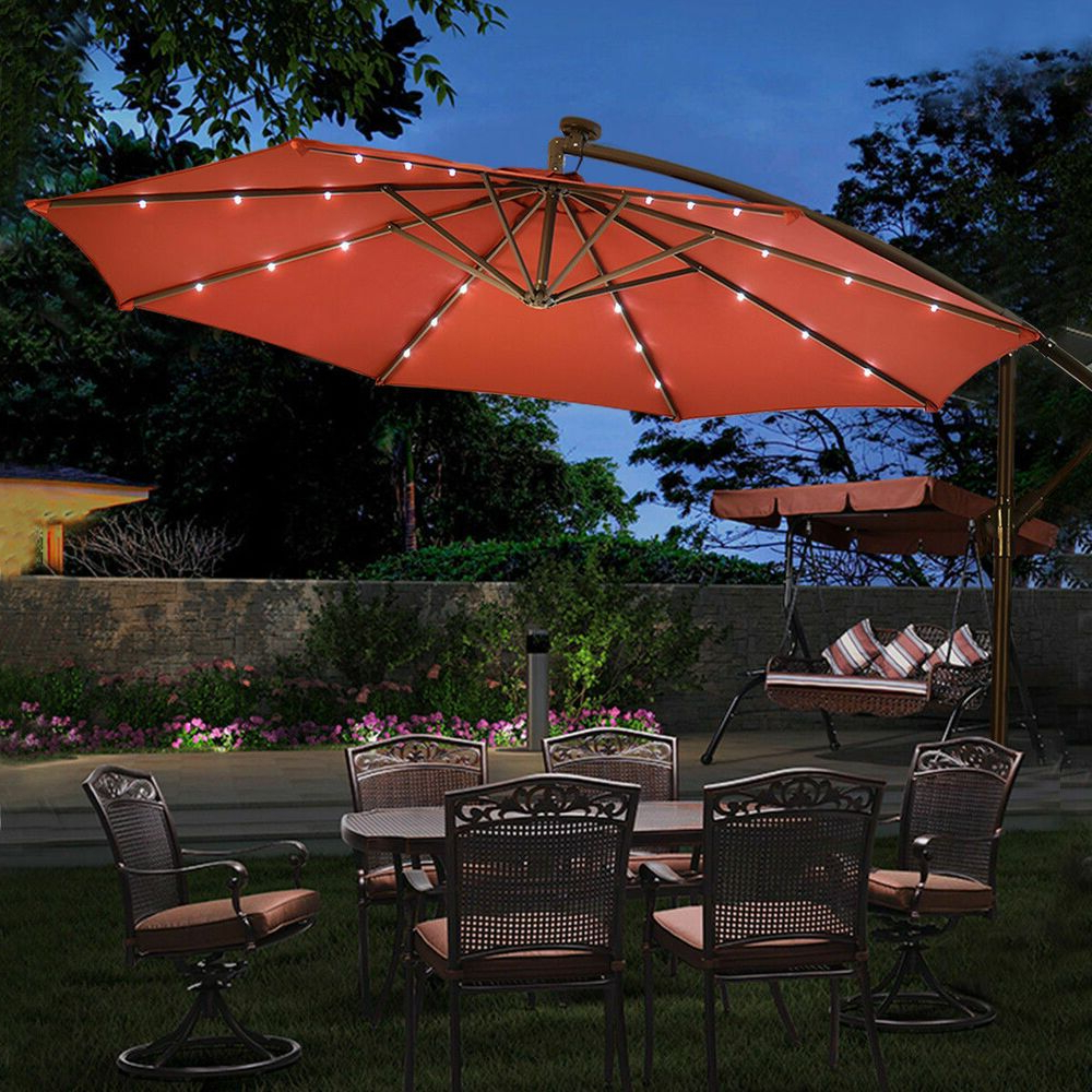 Newest Led Hanging Solar Umbrella Patio Sun Shade Offset Market W/base With Annabelle Market Umbrellas (View 16 of 20)