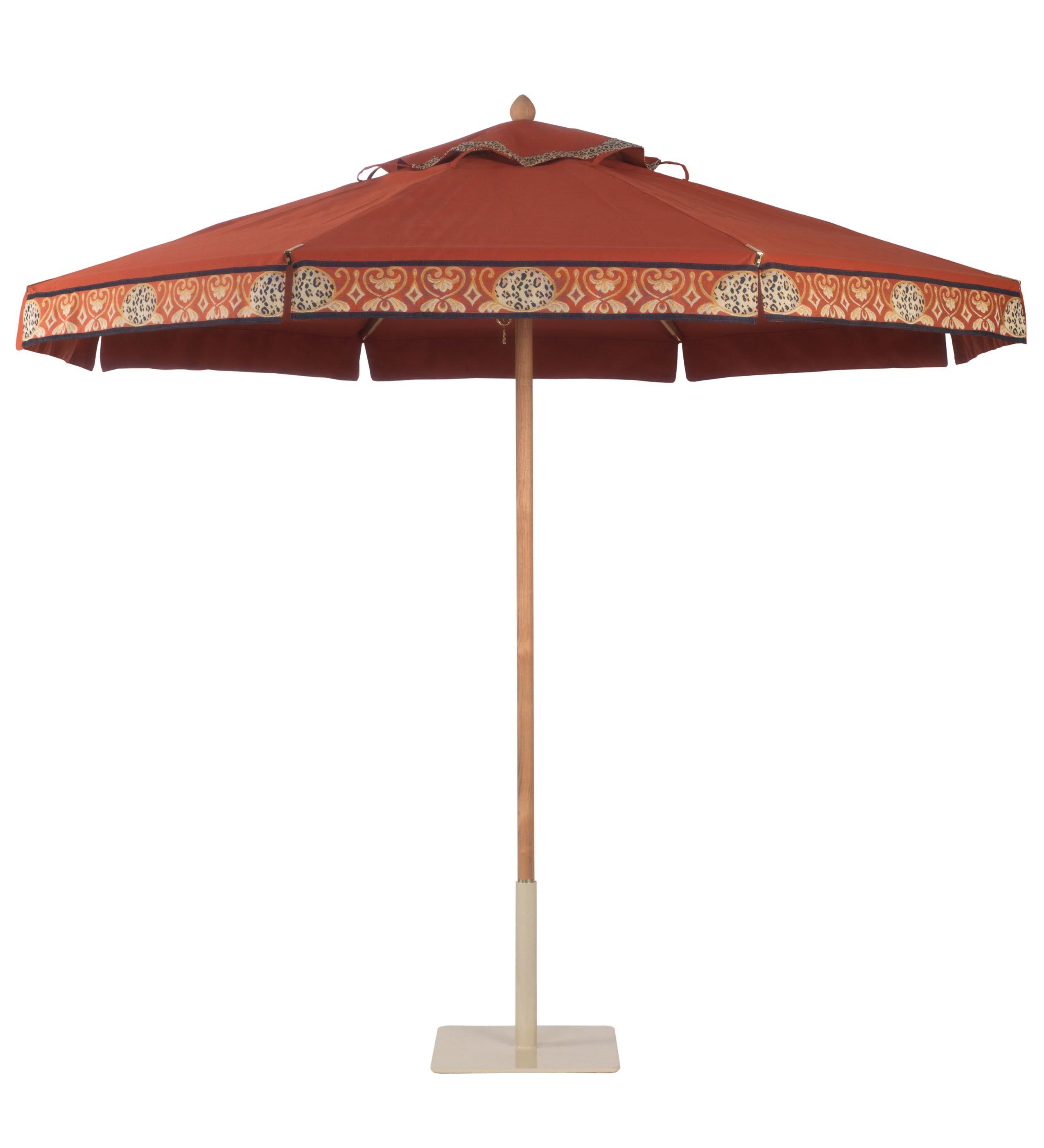 Newest Santa Barbara Umbrella In Teak With Regatta Terra Cotta Canopy And Regarding Capresa Market Umbrellas (View 13 of 20)
