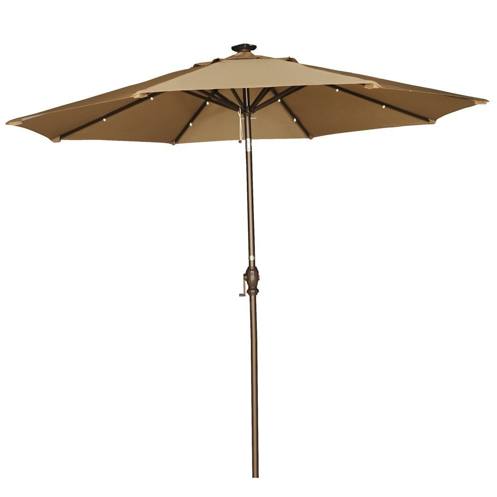 Newest Venice Lighted Umbrellas With Abba Patio 9 Foot Brown Tilt/crank Umbrella With Solar Powered Led Lights (View 7 of 20)