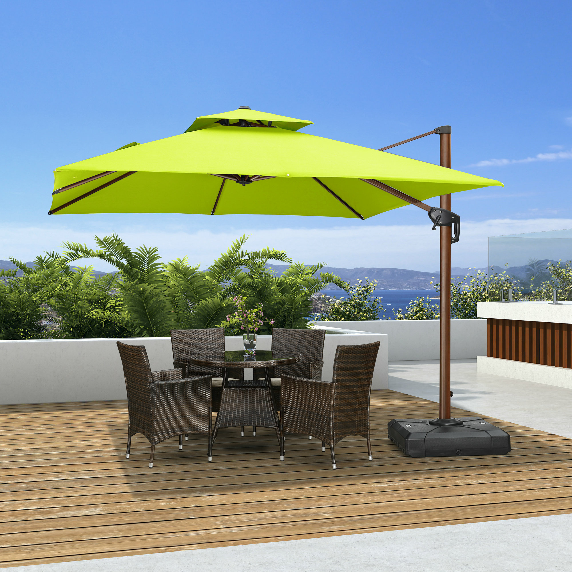 Newest Waddell 10' Square Cantilever Umbrella Throughout Emely Cantilever Umbrellas (View 11 of 20)