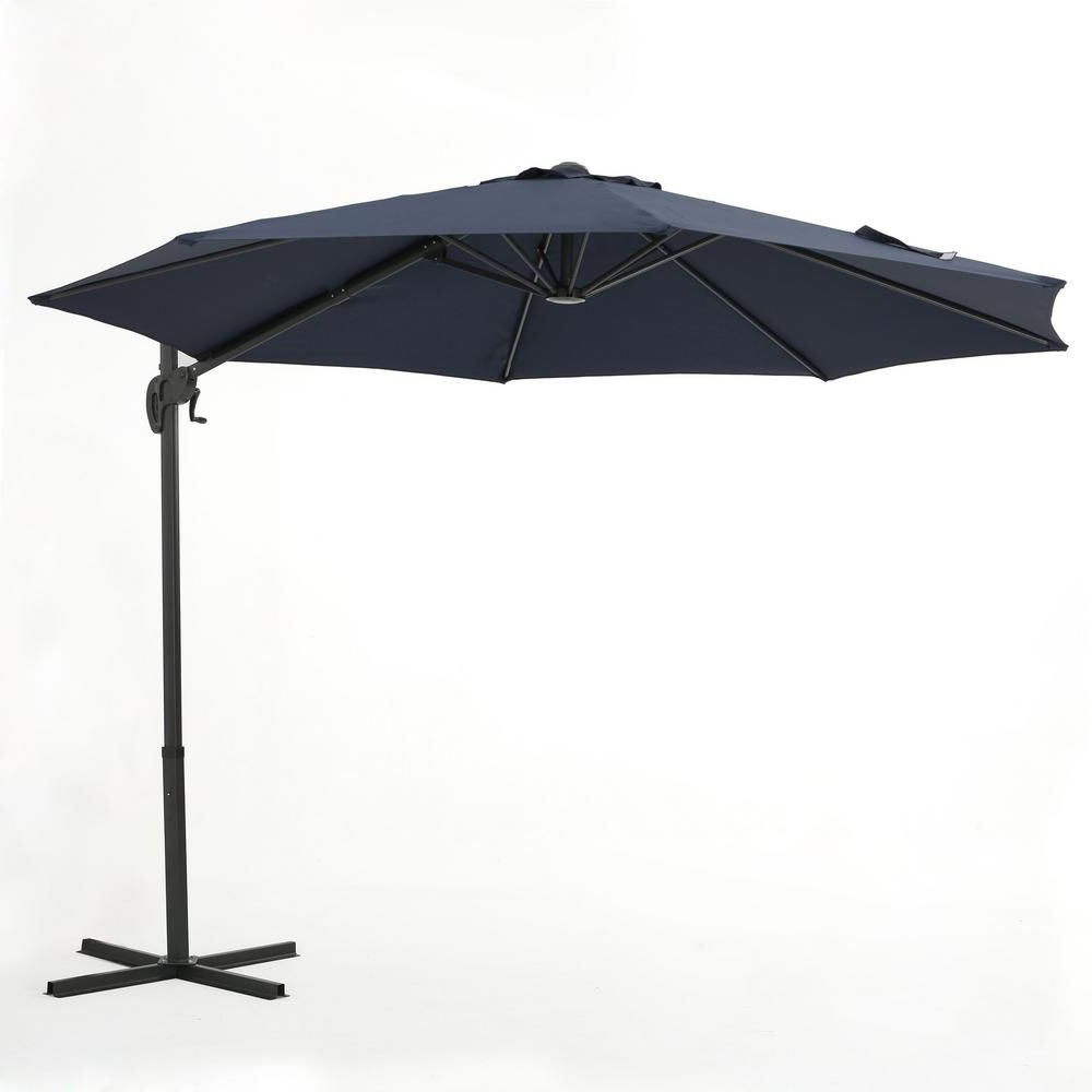 Noble House Sofia 11.5 Ft. Steel Cantilever Tilt Patio Umbrella In For Favorite Bormann Cantilever Umbrellas (Gallery 19 of 20)