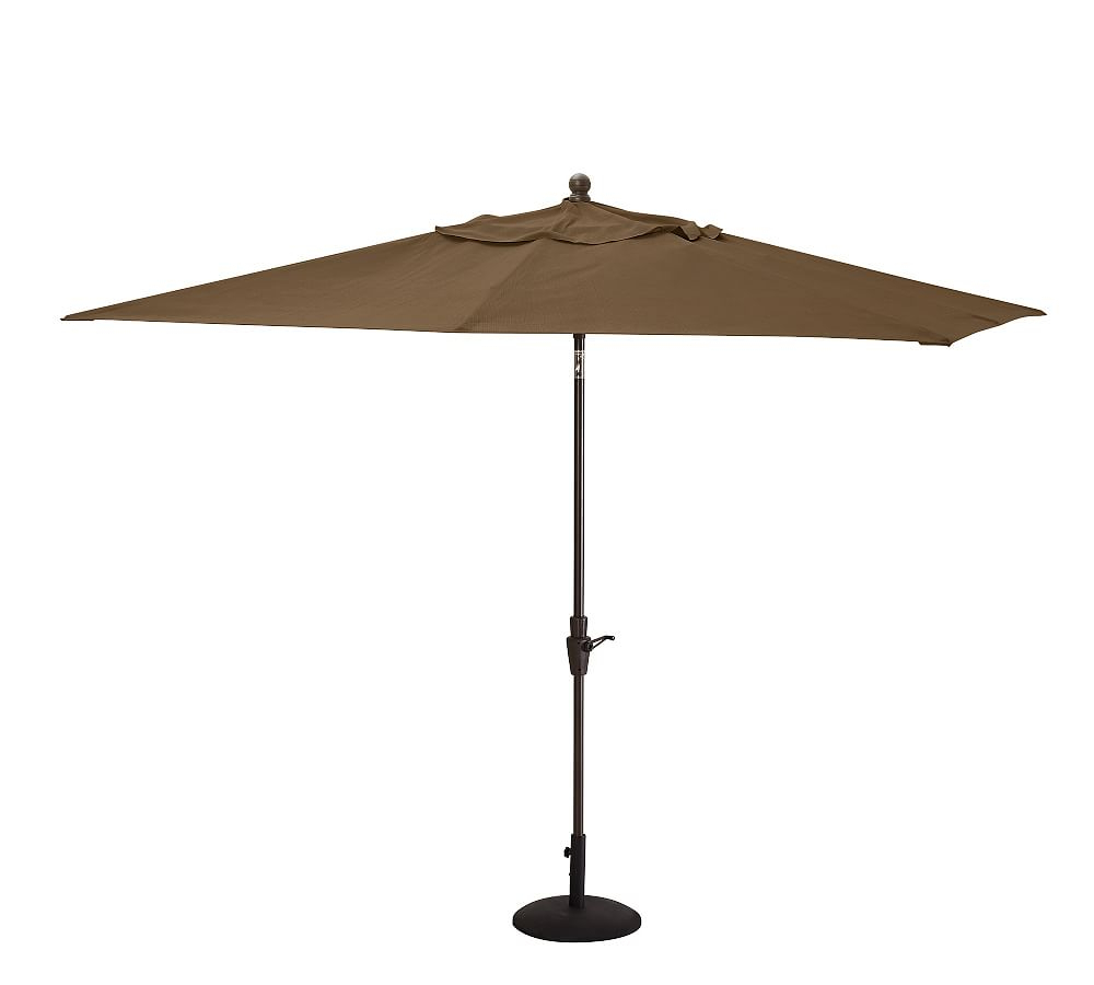 Olen Cantilever Umbrellas Within Popular 9' Rectangular Umbrella With Teak Pole, Outdoor Canvas, Giorgia (View 14 of 20)