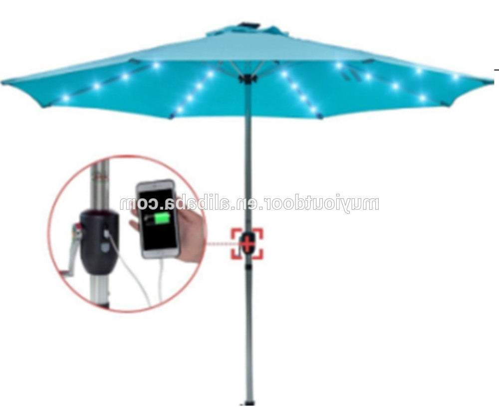 Outdoor 10 Ft 32 Led Light Solar Powered Led Patio Umbrella,with Usb Charger,portable Powder Bank – Buy Patio Umbrella With Usb Charger,solar Powdered In Most Recent Solar Powered Led Patio Umbrellas (Gallery 10 of 20)