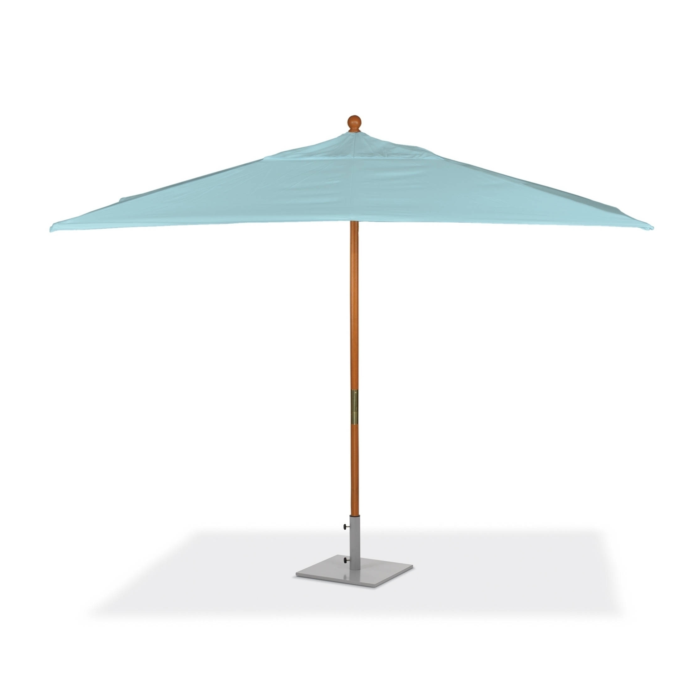 Oxford Garden 10 Feet Rectangular Mineral Blue Sunbrella Fabric Shade Market Umbrella With Solid Tropical Hardwood Frame With Regard To Best And Newest Solid Rectangular Market Umbrellas (View 17 of 20)