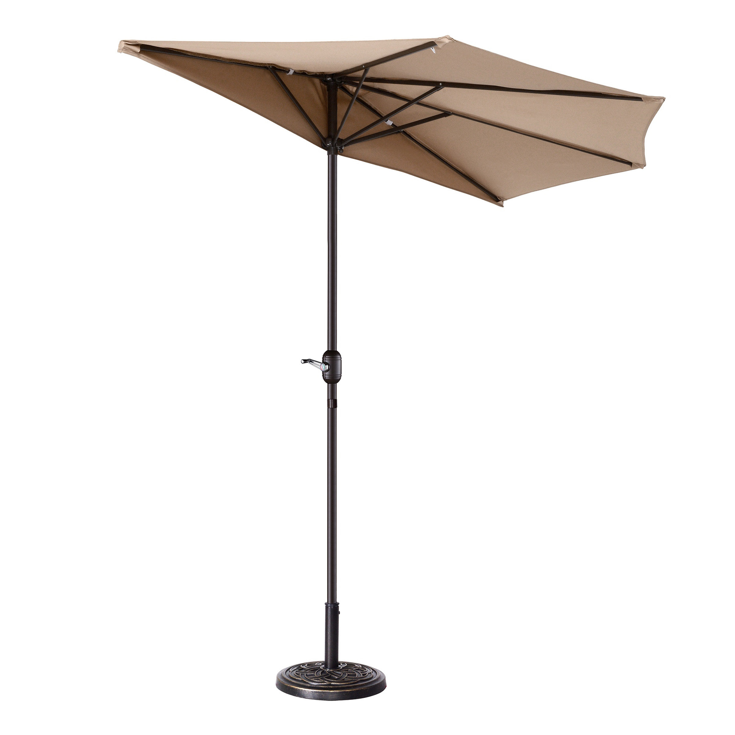 Popular Colburn Half 9' Market Umbrella Throughout Alder Half Round Outdoor Patio Market Umbrellas (View 16 of 20)