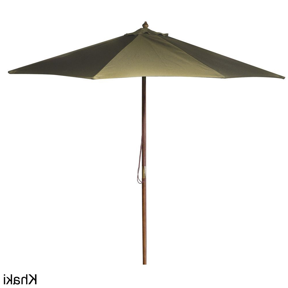 Popular Devansh Drape Umbrellas In Jordan Manufacturing 9 Foot Wooden Market Umbrella (Burgundy), Red (View 15 of 20)