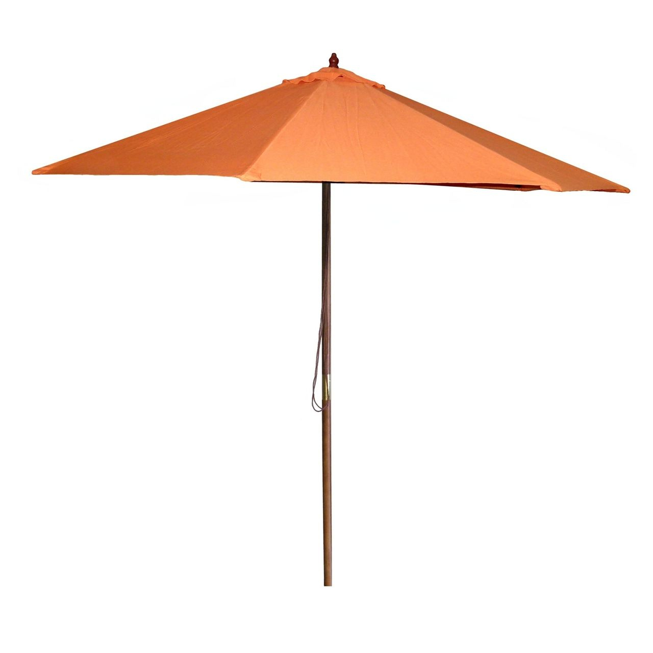 Popular Devansh Market Umbrellas With 9 Ft Patio Pulley Umbrella With Wood Pole And Orange Canopy (View 20 of 20)