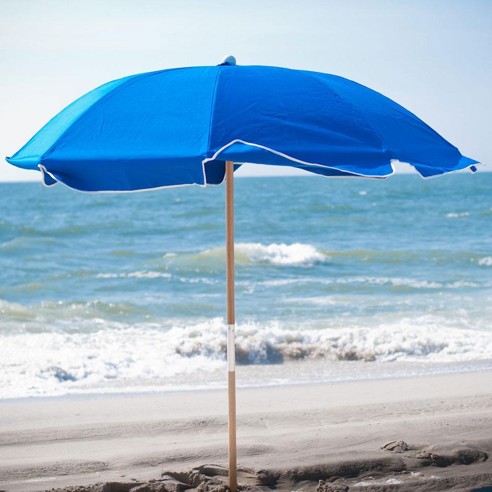 Popular Frankford Umbrella 7.5 Ft. Fiberglass Rib Commercial Beach Umbrella With  Wood Or Aluminum Pole In Leasure Fiberglass Portable Beach Umbrellas (Gallery 5 of 20)
