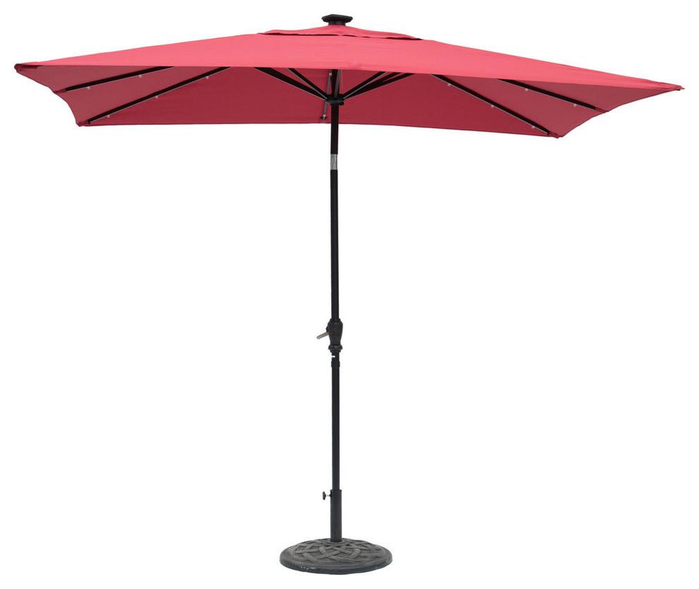 Popular Sun Ray Rectangular Solar Lighted Umbrella, Scarlet, 9'x7' In Sun Ray Solar Cantilever Umbrellas (View 11 of 20)