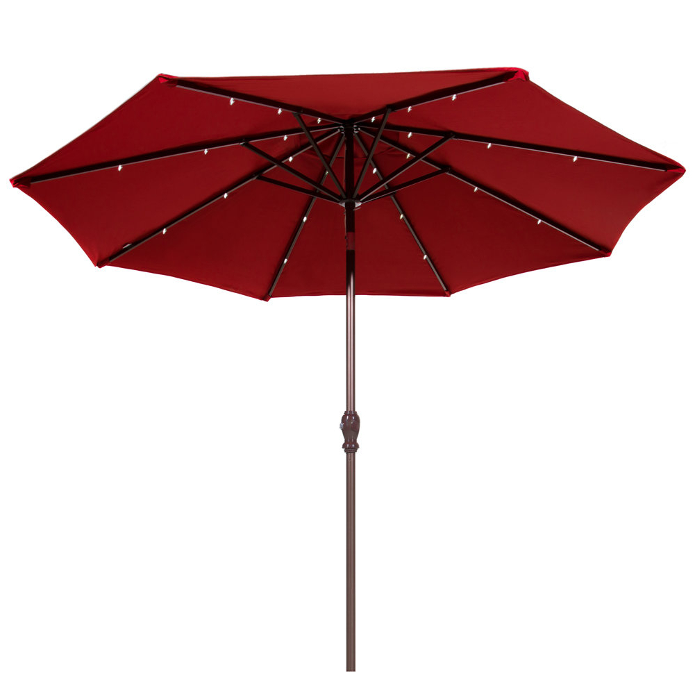 Preferred 9' Lighted Umbrella Throughout Hettie Solar Lighted Market Umbrellas (View 8 of 20)