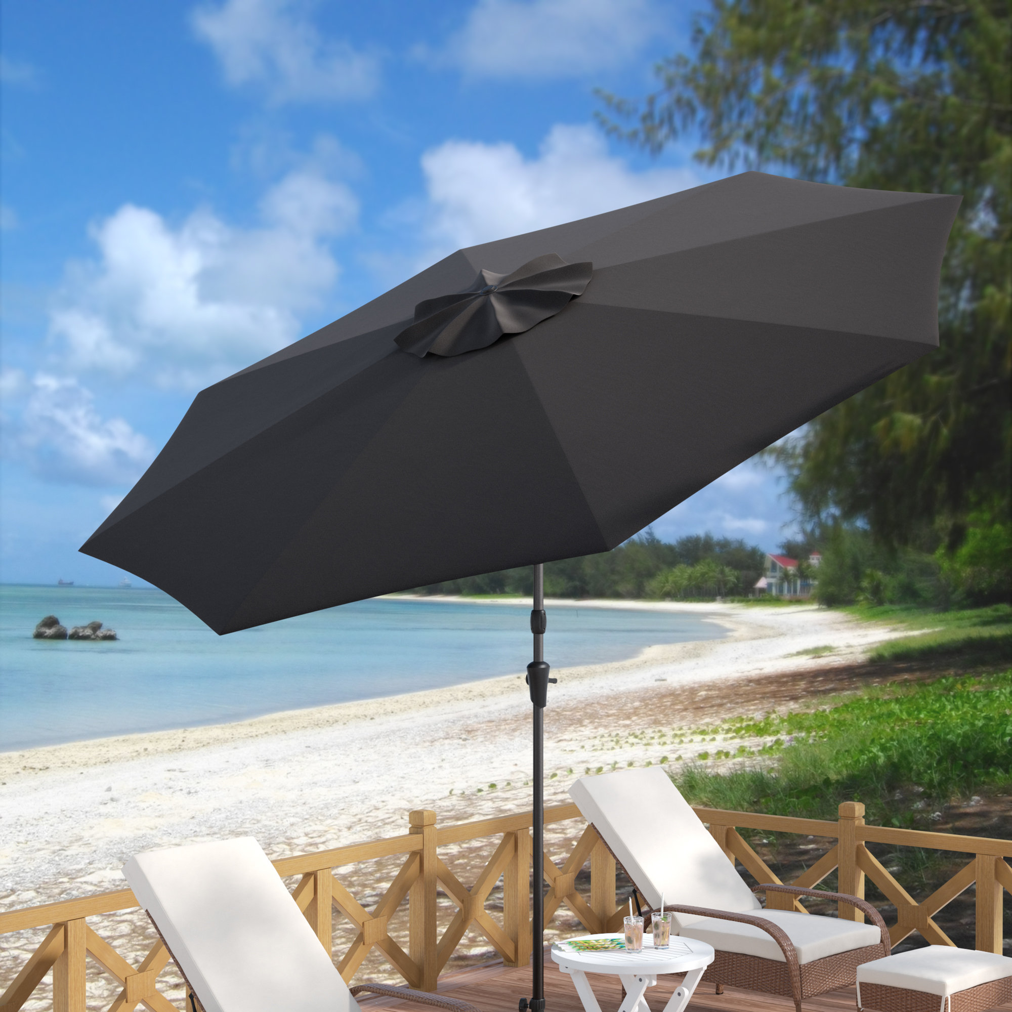 Preferred Featherste Market Umbrellas With Regard To Beachcrest Home Markley Market Beach Umbrella (View 20 of 20)