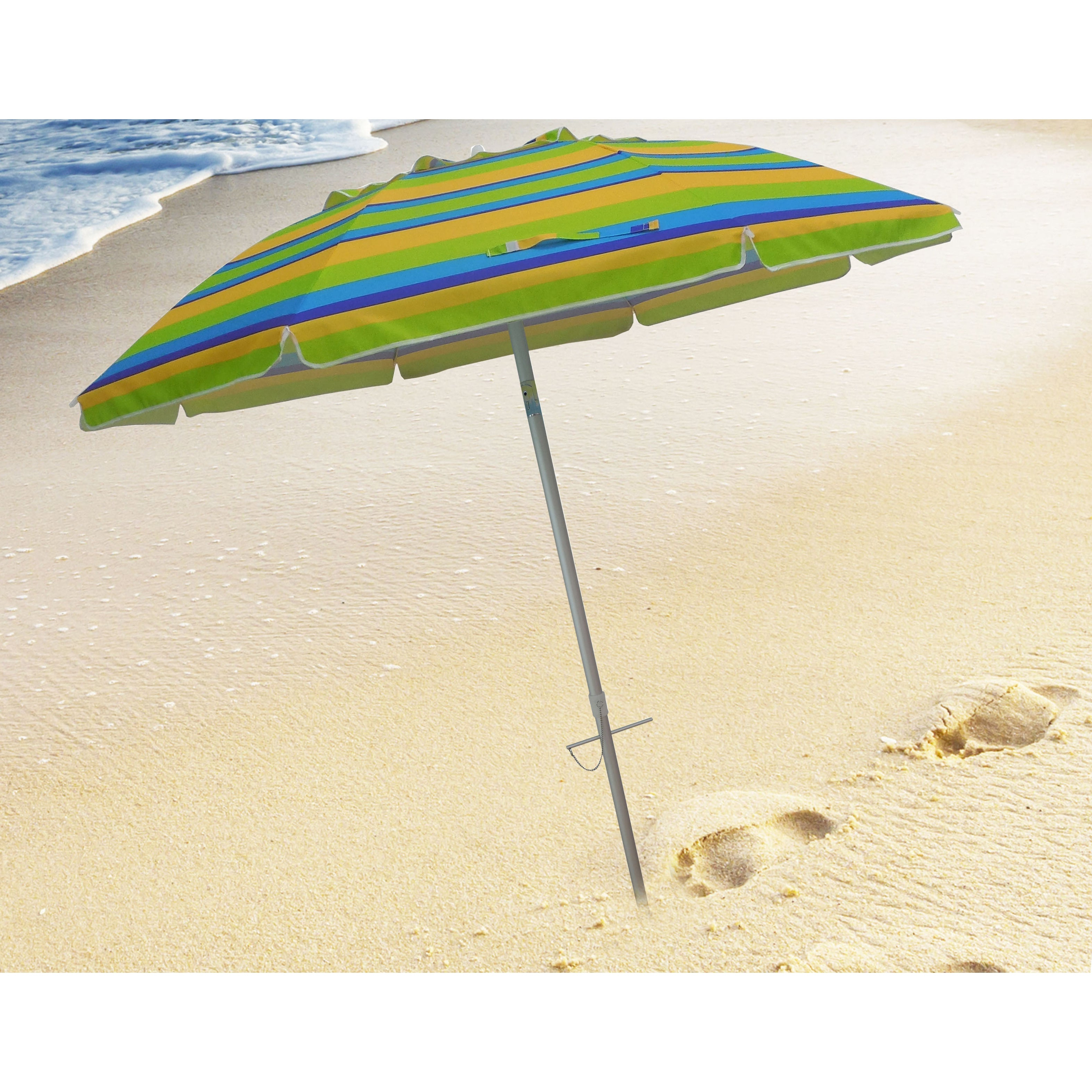 Preferred Margaritaville Green And Blue Striped Beach With Built In Sand Anchor Umbrellas For 7 Foot Stripe Beach Umbrellas With Tilt And Travel Bag (View 13 of 20)