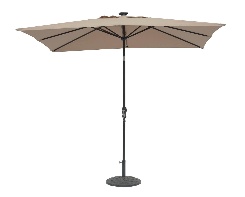 Preferred Pau Rectangular Market Umbrellas With Regard To Kamila 9' X 7' Rectangular Lighted Umbrella (View 17 of 20)