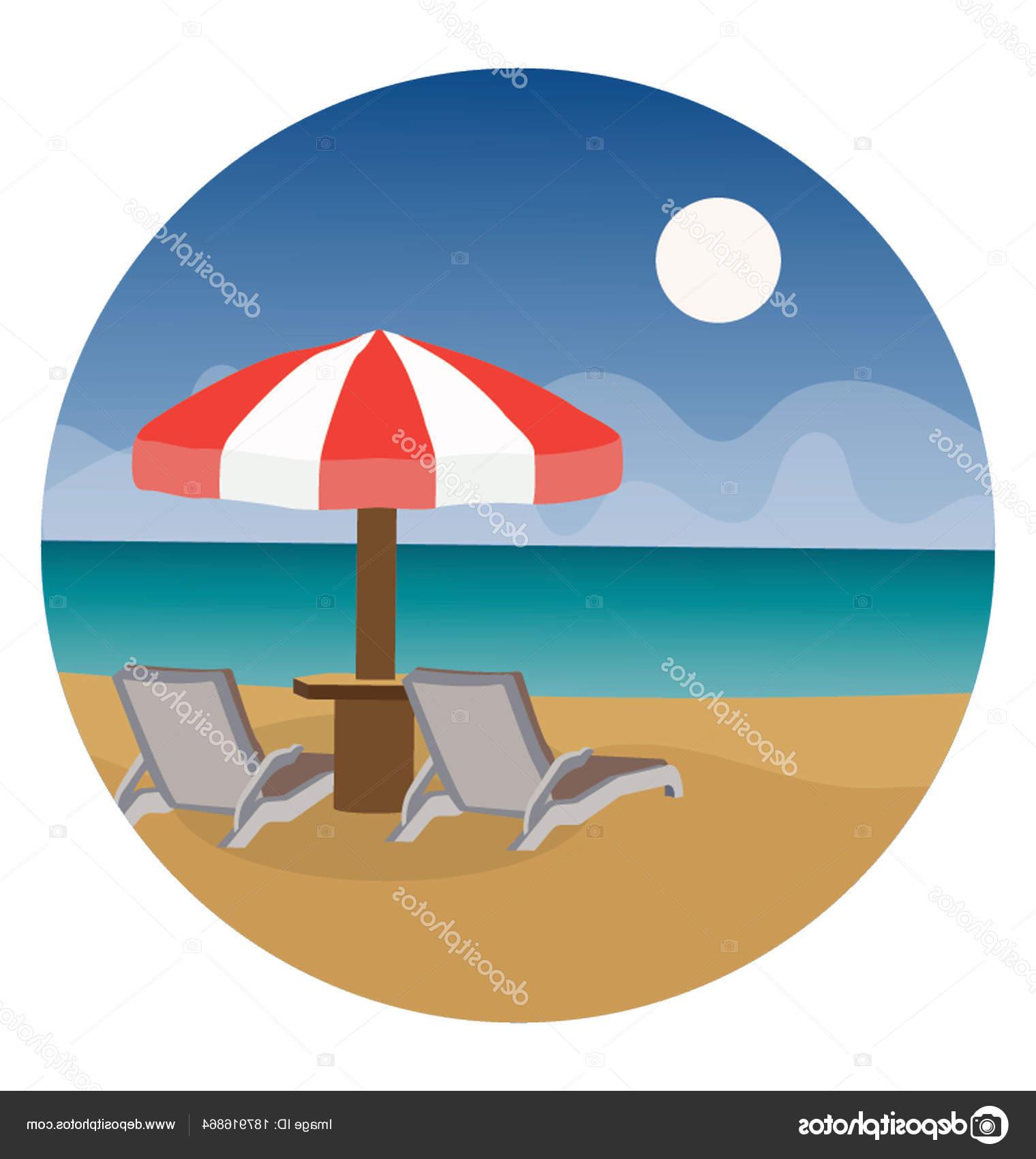 Preferred Seaside Beach Umbrella Tanning Bed — Stock Vector © Creativestall For Seaside Beach Umbrellas (View 7 of 20)