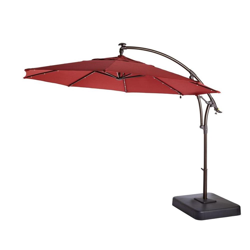 Preferred Solar Powered Led Patio Umbrellas Inside Hampton Bay 11 Ft (View 13 of 20)