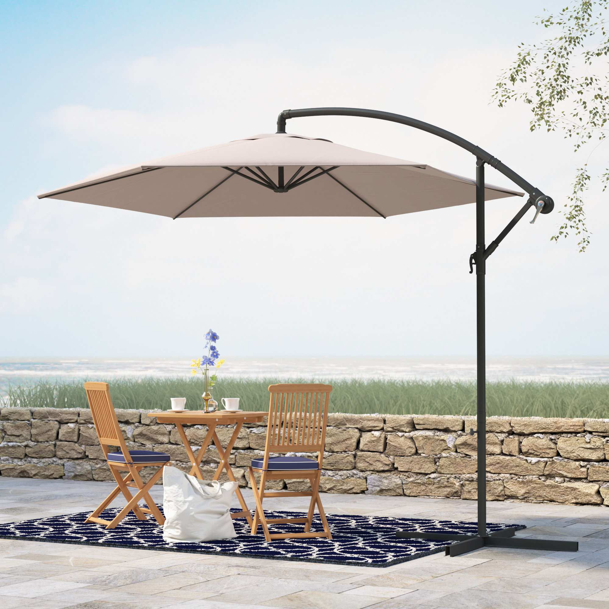 Recent Alyssa 10' Cantilever Umbrella Pertaining To Imogen Hanging Offset Cantilever Umbrellas (View 9 of 20)