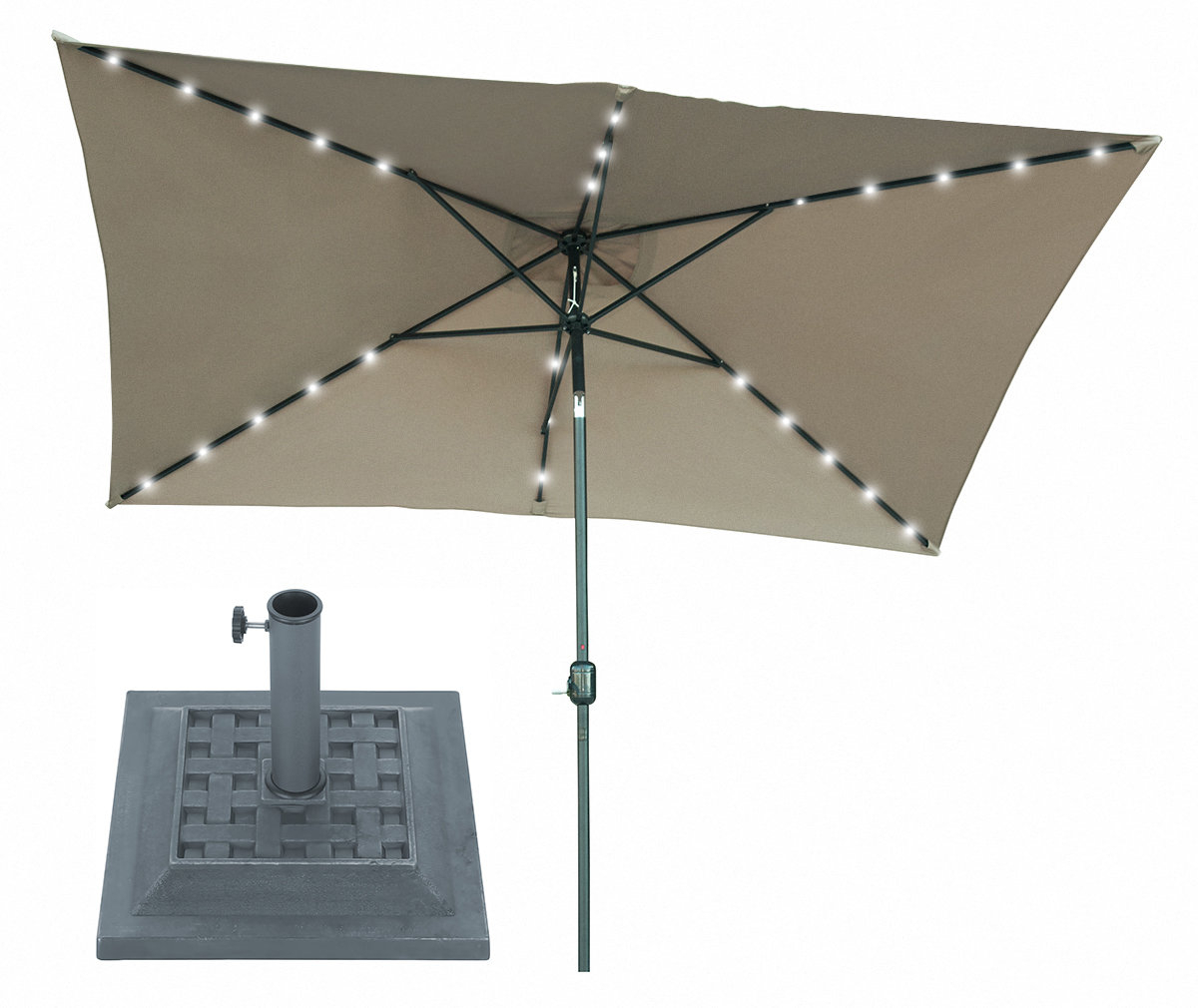 Recent Dena Rectangular Market Umbrellas Within Bramblett 10' X 6.5' Rectangular Lighted Umbrella (Gallery 19 of 20)