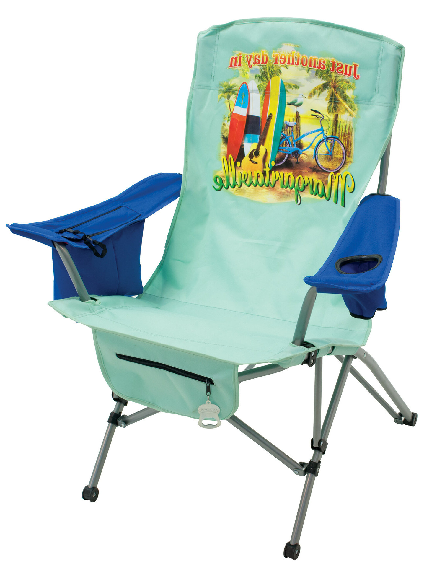 """Recent Margaritaville """"just Another Day In Paradise"""" Tension Reclining Beach Chair With Regard To Margaritaville Green And Blue Striped Beach With Built In Sand Anchor Umbrellas (View 14 of 20)"""