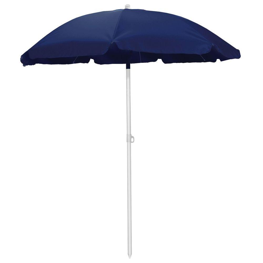 Recent Picnic Time 5.5 Ft. Beach Patio Umbrella In Navy Throughout Tilt Beach Umbrellas (Gallery 4 of 20)