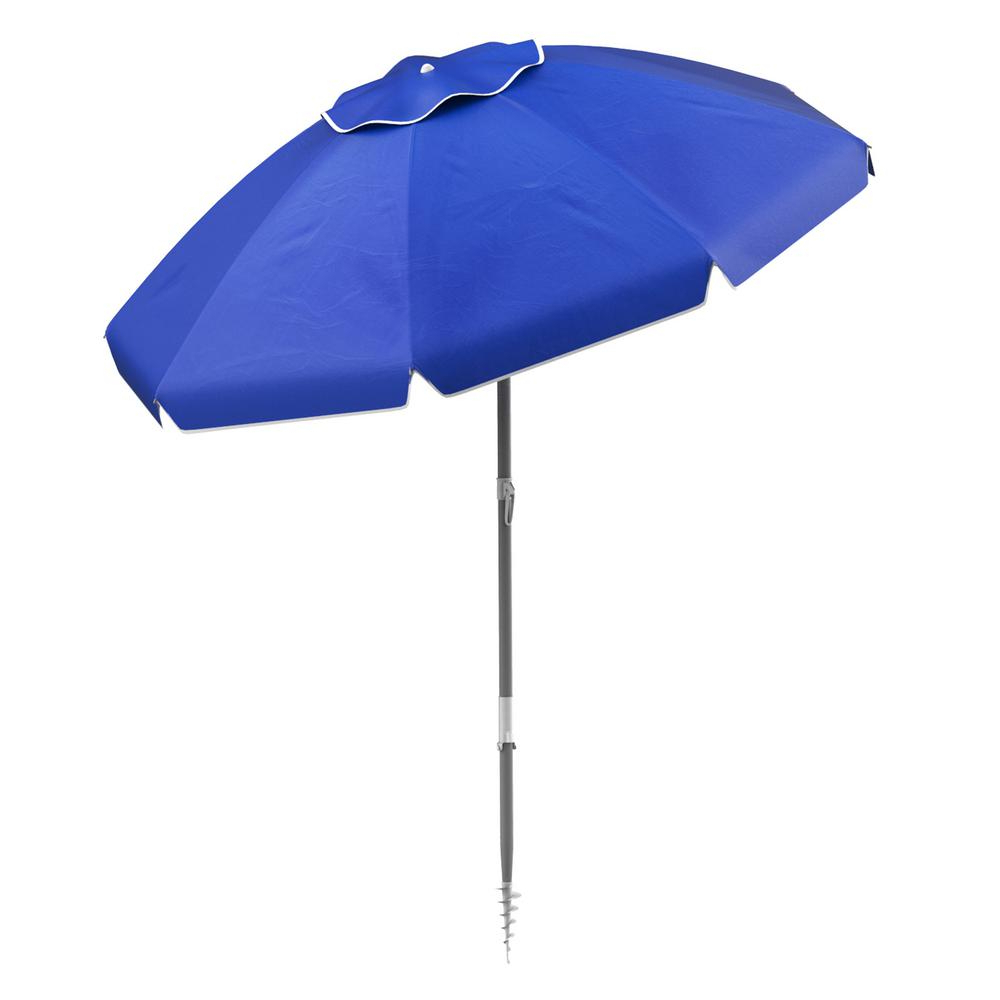 Recent Pure Garden 6 Ft. Aluminum Drape Tilt Beach Umbrella In Blue With Regard To Margaritaville Green And Blue Striped Beach With Built In Sand Anchor Umbrellas (Gallery 8 of 20)