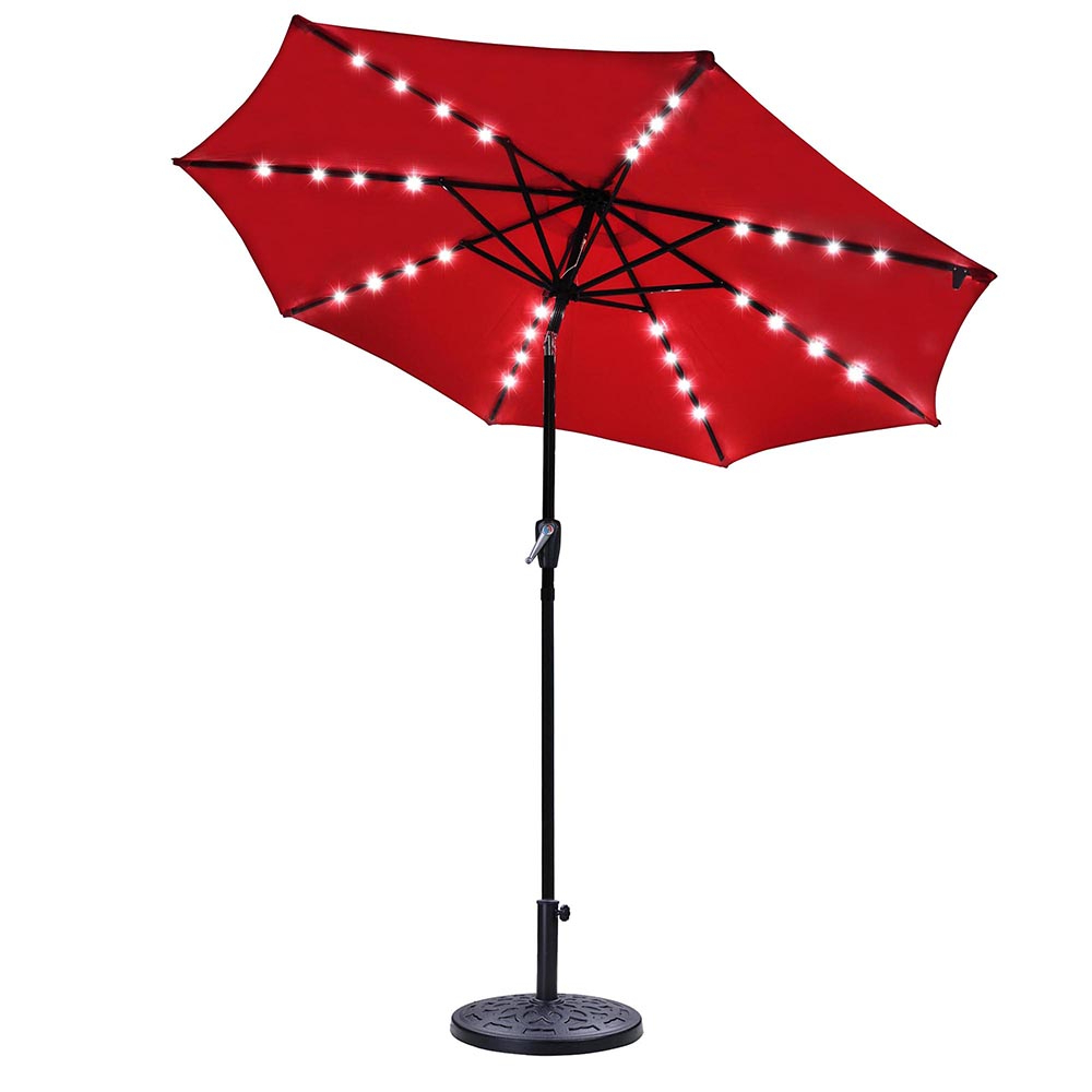 Recent Solar Powered Led Patio Umbrellas In 9Ft Outdoor Solar Powered Red Patio Umbrella 8 Ribs 32 Leds Crank Tilt  Uv30+ With Base Stand Garden (View 14 of 20)
