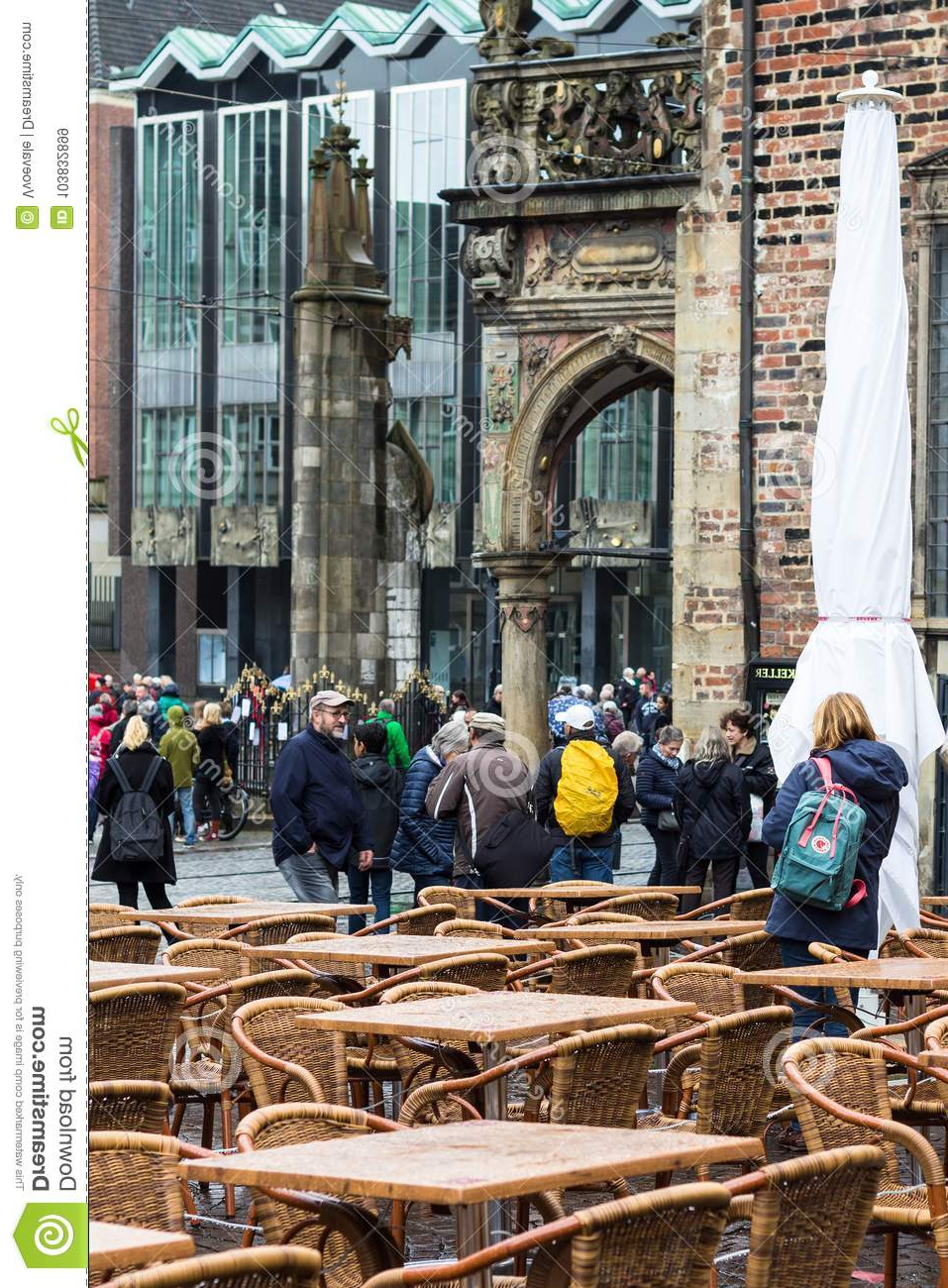 Recent Table Of Outdoor Cafe On Bremen Market Square Editorial Stock Image In Breen Market Umbrellas (View 20 of 20)