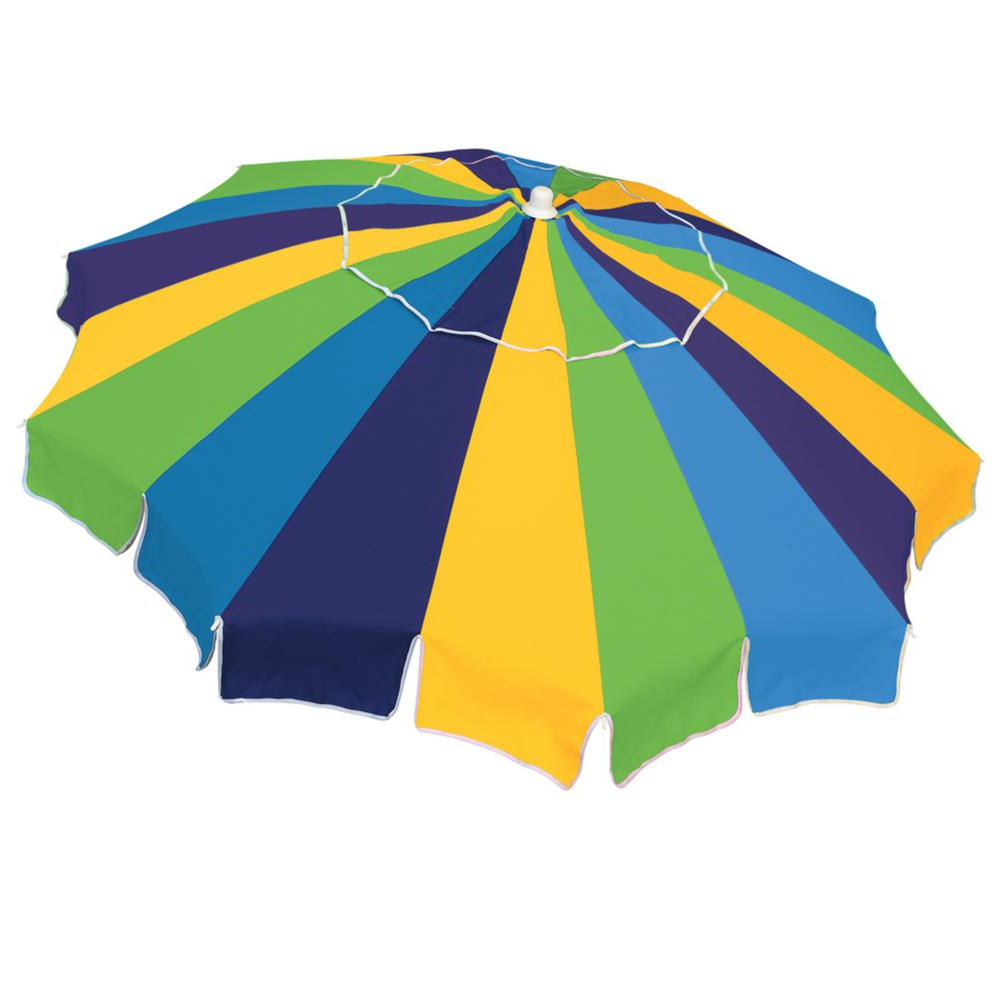 Rio Beach 6 Ft. Market Vented Beach Umbrella With Integrated Sand Throughout Preferred Margaritaville Green And Blue Striped Beach With Built In Sand Anchor Umbrellas (Gallery 10 of 20)