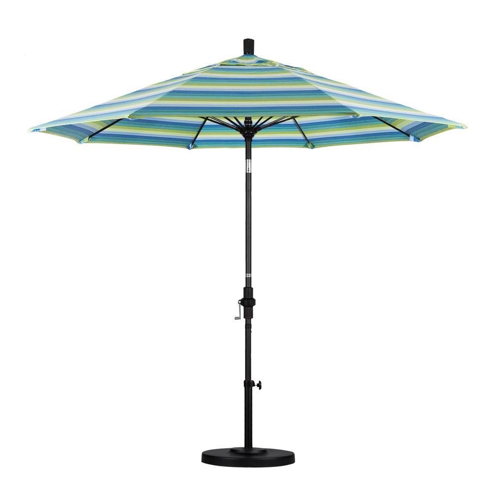 Ryant Cantilever Umbrellas Within Popular California Umbrella 9 Ft. Matted Black Aluminum Market Patio (Gallery 18 of 20)