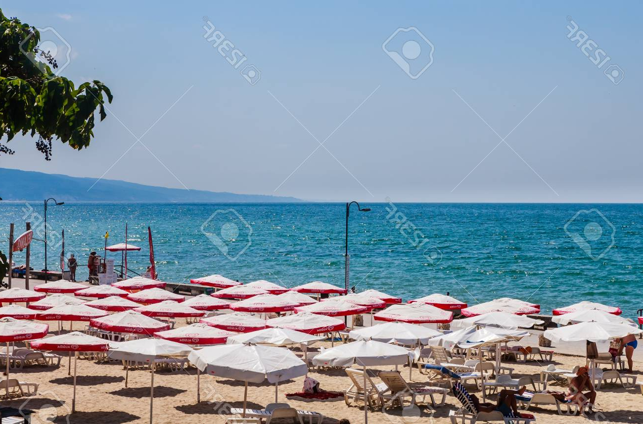 Seaside Beach Umbrellas For Most Recent The Balchik Seaside, Beach With Sands, Sun Umbrellas And Blue. (View 12 of 20)