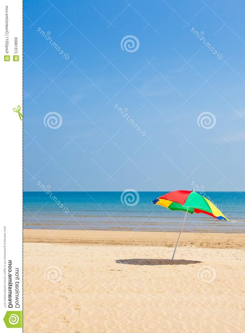 Seaside Beach Umbrellas Throughout Popular Seaside Beach Umbrella Stock Photo (View 15 of 20)
