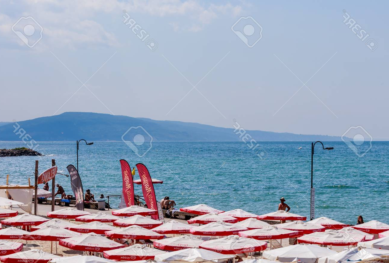 Seaside Beach Umbrellas With Popular The Balchik Seaside, Beach With Sands, Sun Umbrellas And Blue. (View 16 of 20)