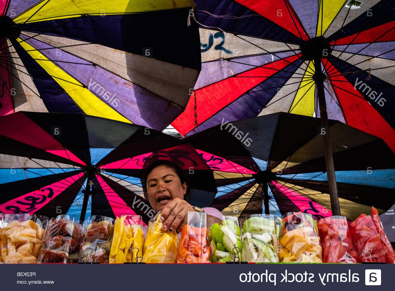 Selling Food Under Umbrella Stock Photos & Selling Food Under Regarding Recent Hawkinge Market Umbrellas (View 17 of 20)