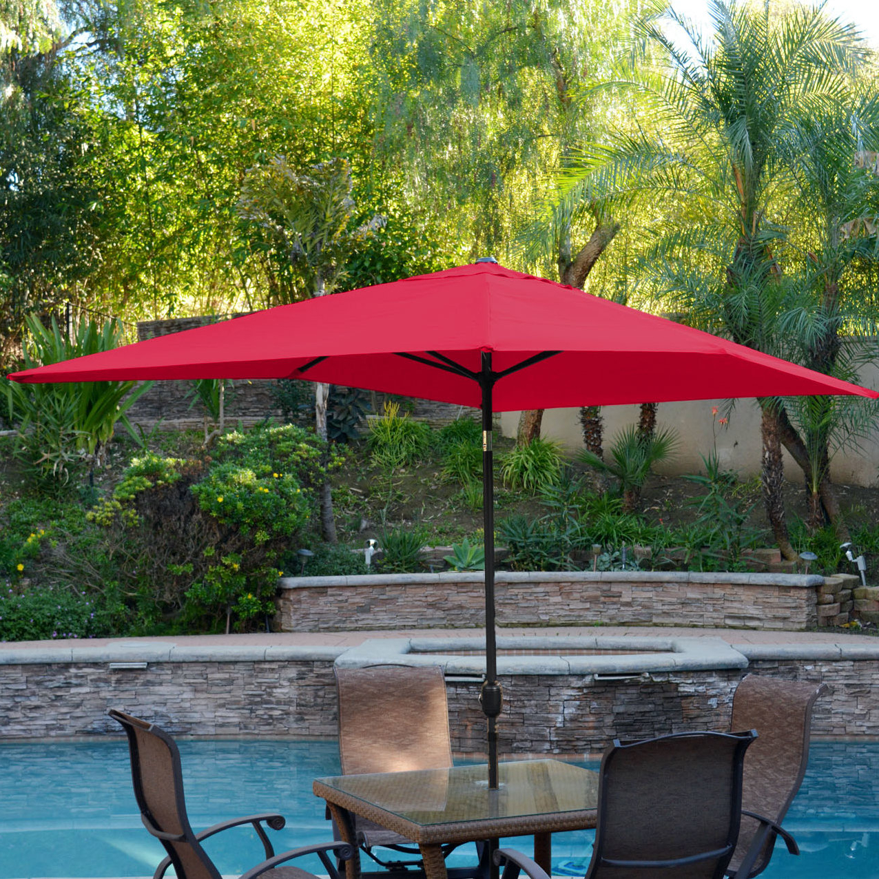 Sherlyn Rectangular Market Umbrellas Throughout 2020 Alcott Hill Norah 10' X (View 9 of 20)