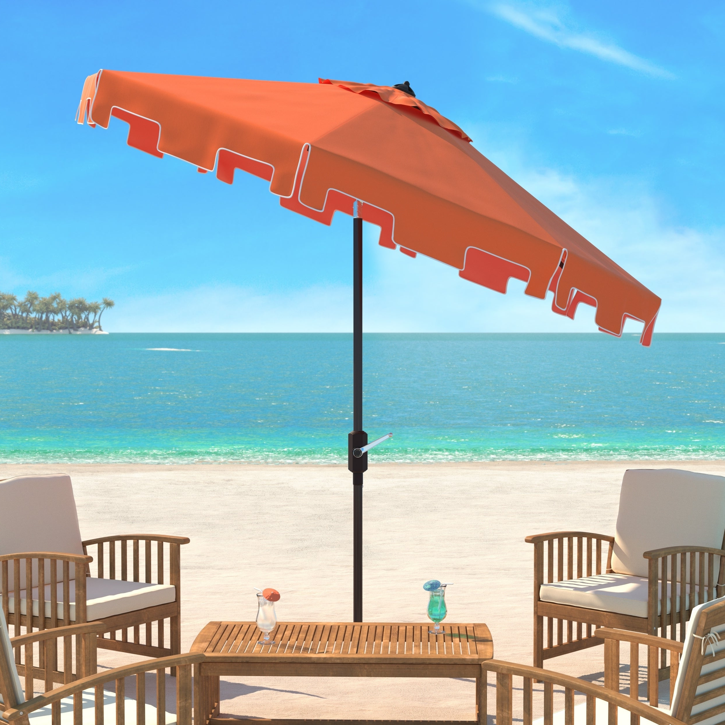 Shop Safavieh Uv Resistant Zimmerman 9 Ft Crank Orange/ White Market Regarding 2019 New Haven Market Umbrellas (View 18 of 20)