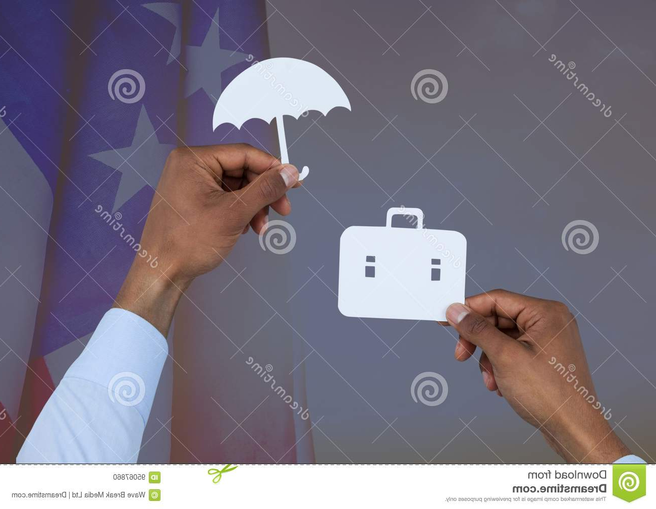Sittard Market Umbrellas Throughout Famous Business Man Hand Holding An Umbrella And A Suitcase On Paper (View 16 of 20)