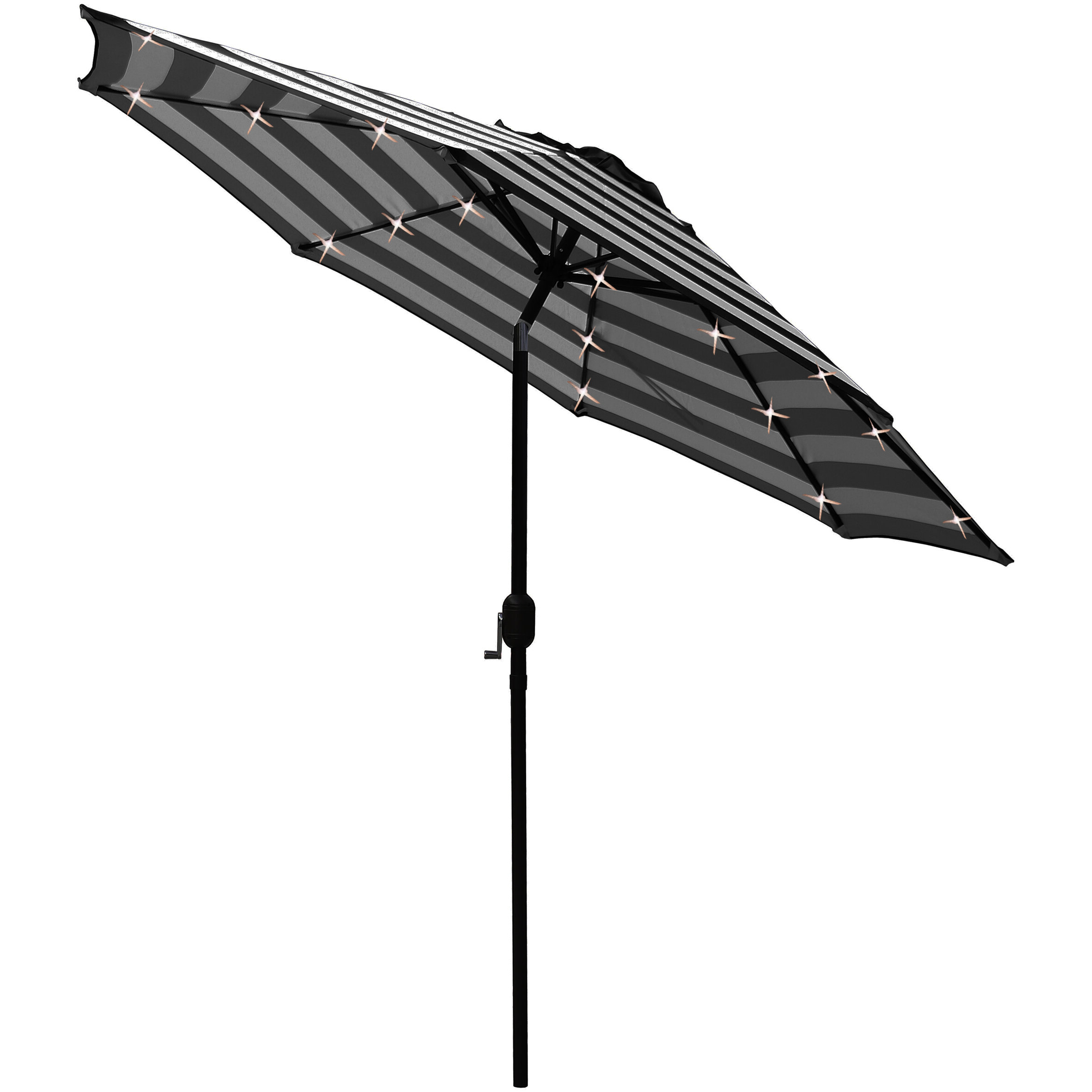 Solar Led Lighted Patio 9' Black Market Umbrella Regarding 2019 Venice Lighted Umbrellas (View 8 of 20)