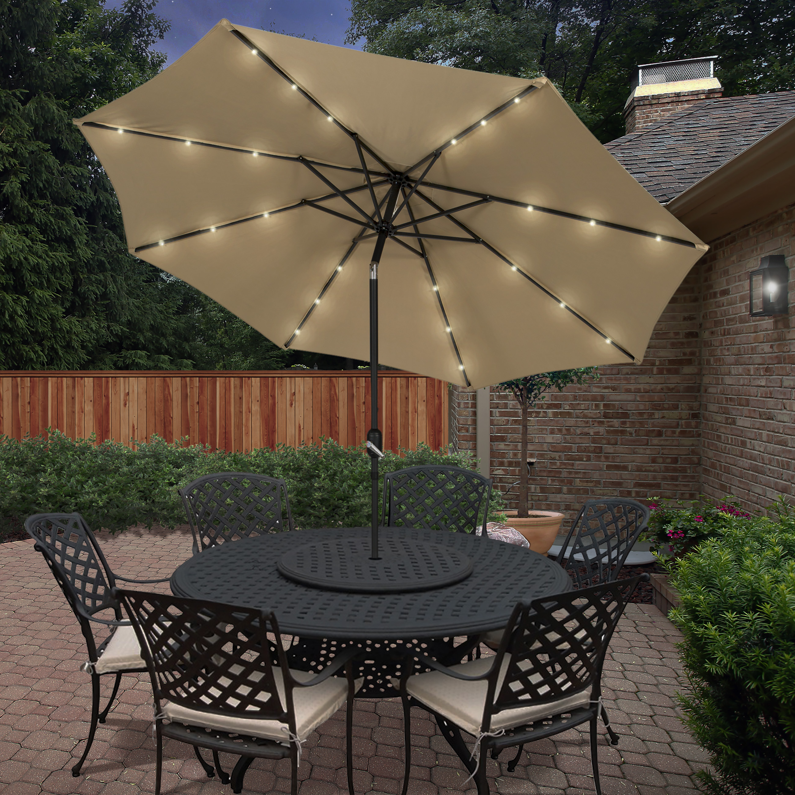 Solar Powered Led Patio Umbrellas Pertaining To 2019 Garden & Backyard: Cute Patio Accessories With Awesome Lighted Patio (View 15 of 20)