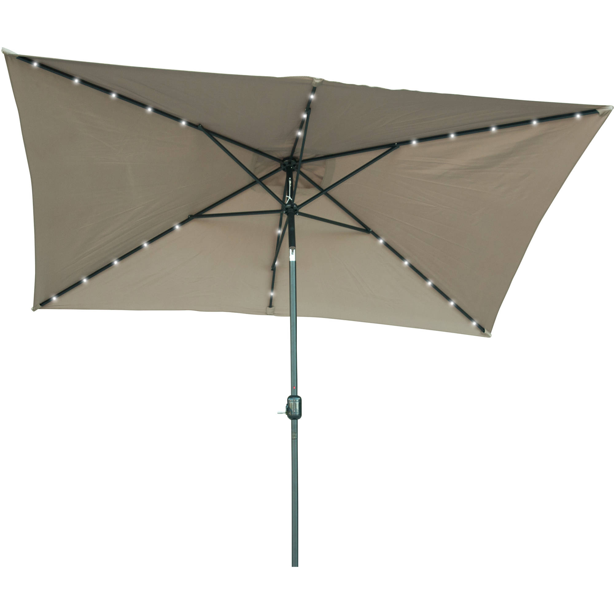 Solar Powered Led Patio Umbrellas With Regard To Fashionable Rectangular Solar Powered Led Lighted Patio Umbrella – 10' X (View 3 of 20)