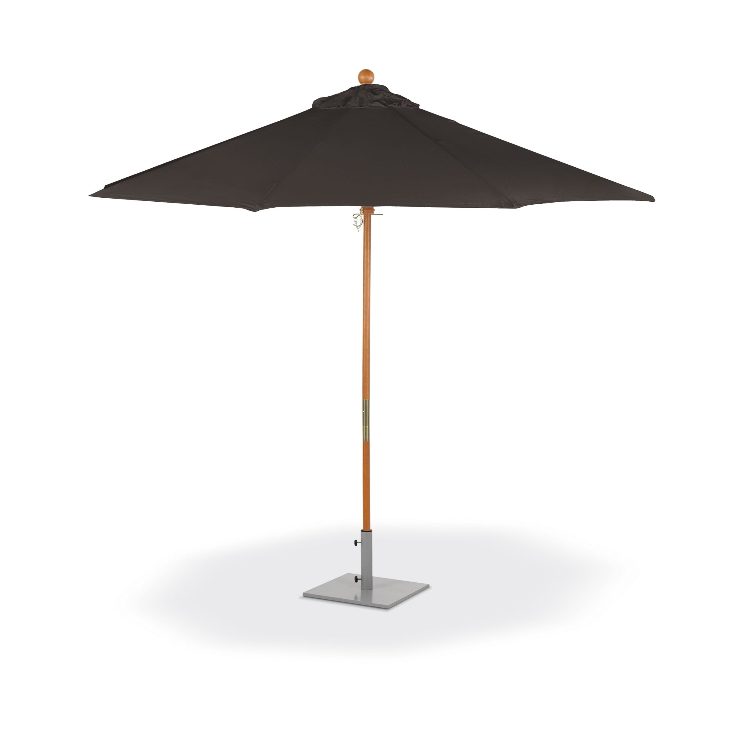 Solid Market Umbrellas Within Most Recently Released Oxford Garden 9 Feet Octagon Black Sunbrella Fabric Shade Market Umbrella  With Solid Tropical Hardwood Frame (View 20 of 20)